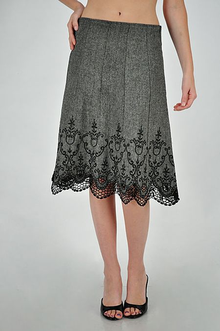 113 Embroidered Tweed Skirt