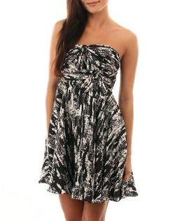 Strapless tie front dress