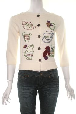 Knitted dove tea party cardi - Copy