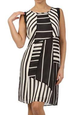 Mystree graphic stripe chiffon dress