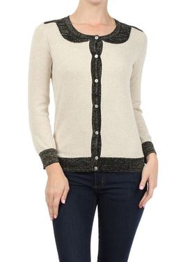Mystree lurex trim cardigan