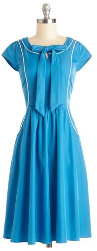 Modcloth azure blue vintage piping dress spring frock shop