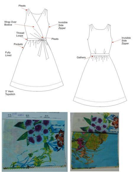 SU1406 faux wrap dress