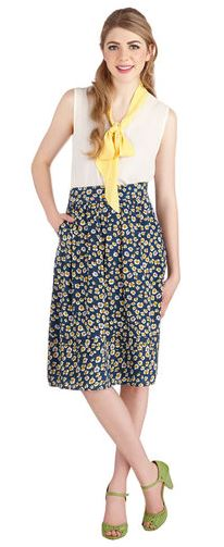 Modcloth class is dismissed blue flower skirt frock shop