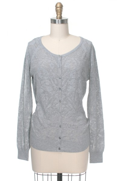 Grey pointelle cardigan frock shop