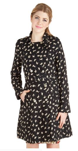 Modcloth kitty cat black trench coat dress frock shop