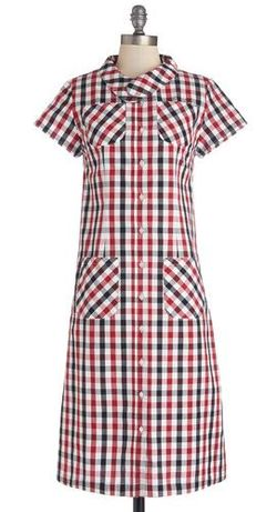 Modcloth plaid picnic shirt dress red check frock shop
