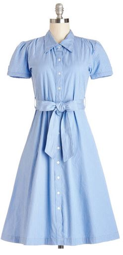 Modcloth blue stripe baking invitational shirt dress short sleeve vintage frock shop