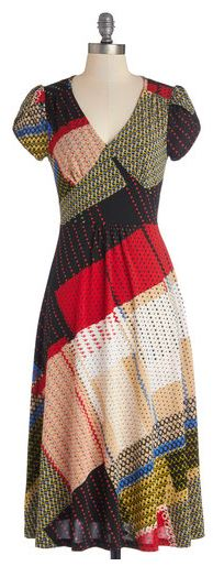 Modcloth pretty patchwork dress jersey stretch vintage frock shop