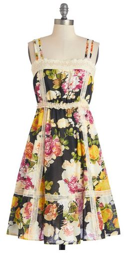 Modcloth rhythm and blooms dress yellow rose vintage frock shop