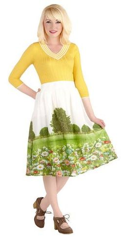 Modcloth utopian dress flower field skirt frock shop