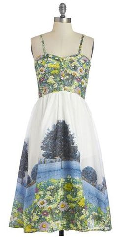 Modcloth provence in a lifetime dress photo print flower field frock shop dress