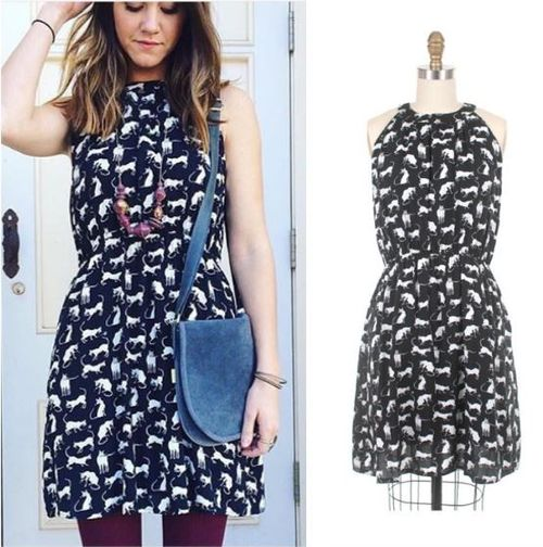 Frock shop siamese cat print fabric dress