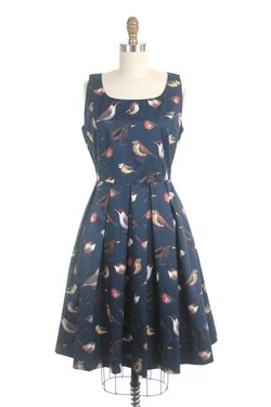 Frock shop pleat bird dress navy
