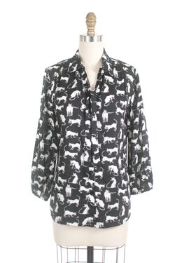 Frock shop siamese cat blouse in black