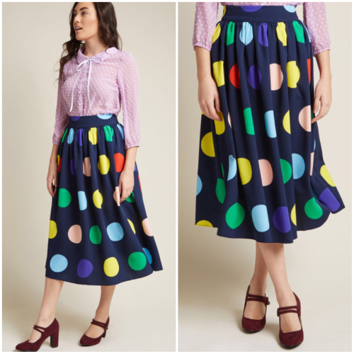 Friends over pho polka dot skirt modcloth frockshop frock shop model