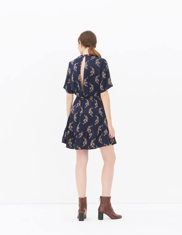 Sandro-tiger-print-mini-dress endorse