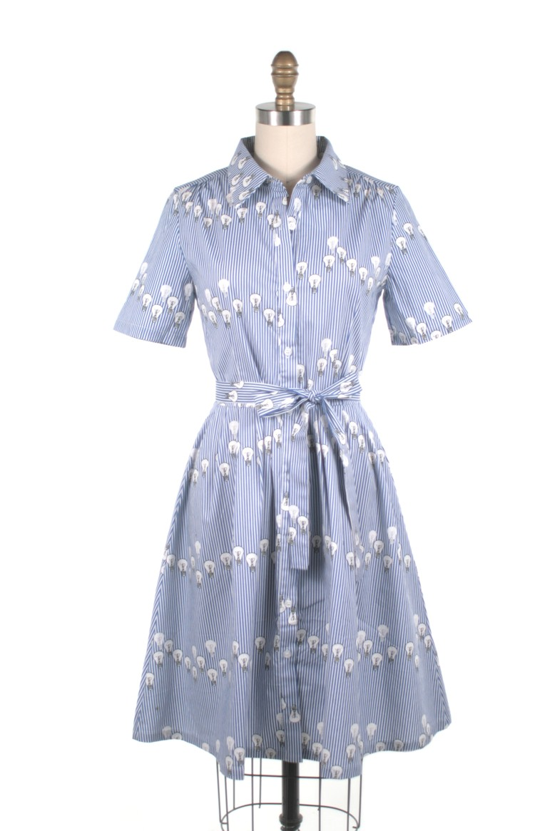 FS18106 lightbulb shirtdress blue