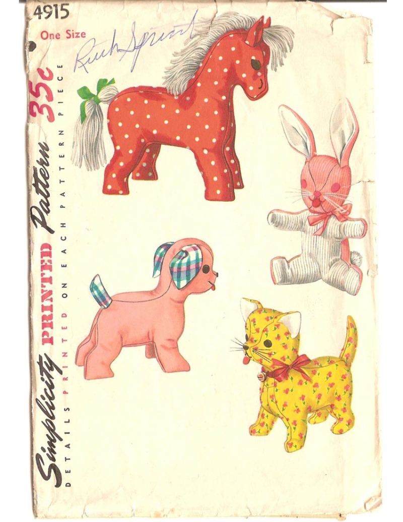 Retro Stuffed Animal Pattern Simplicity 4915